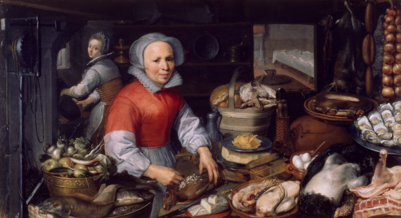 Pieter Aertsen (1507/8–75), Preparations for a Feast, Antwerp or Amsterdam, 1550–75. Oil on canvas. 95 x 170.5 cm. Lent by the Birmingham Museums Trust (1925P344).