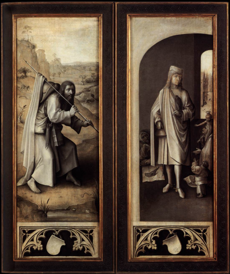 Hieronymus Bosch: Last Judgment triptych, outer wings, c. 1490 – c. 1505, oil tempera on oak, c. 164 x 59 cm (each wing), The Paintings Gallery of the Academy of Fine Arts Vienna