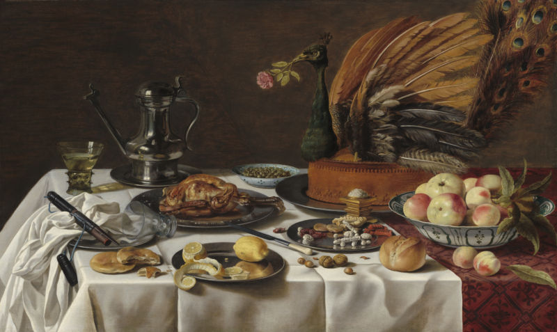Pieter Claesz (1597–1661), Still Life with Peacock Pie, 1627, oil on panel, 77.5 x 128.9 cm. National Gallery of Art, Washington, D.C. The Lee and Juliet Folger Fund (2013.141.1).