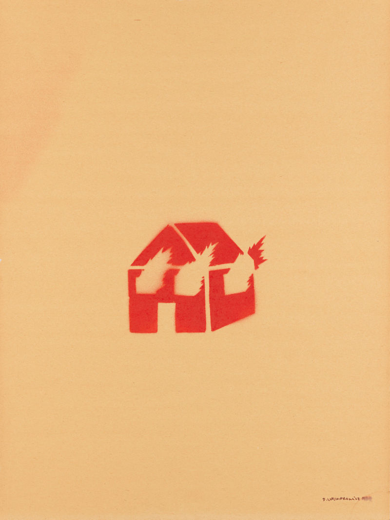 David Wojnarowicz, Untitled (Burning House), spray paint on paper, 1982.