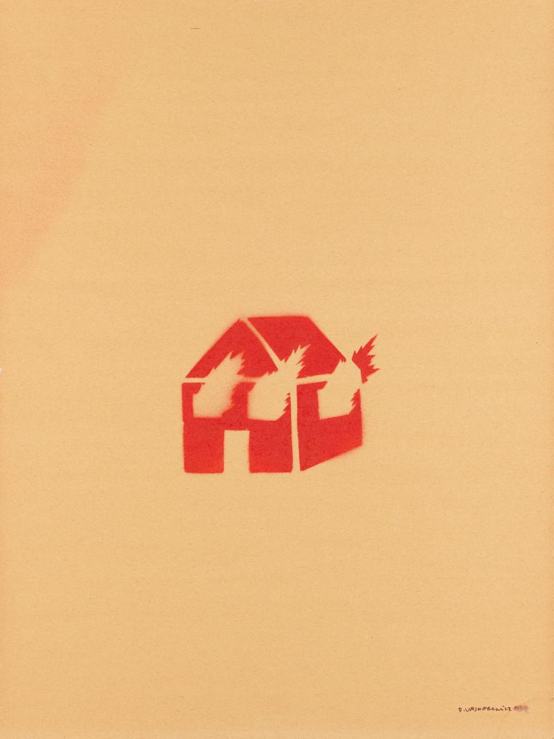 David Wojnarowicz,Untitled (Burning House), spray paint on paper, 1982.