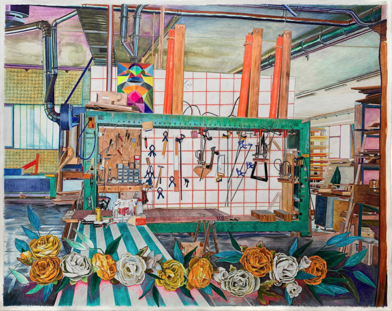 Jessica Dessner, Viglione Feisoglio 2, 2020, colored pencil and watercolor on paper, 19 x 24 inches