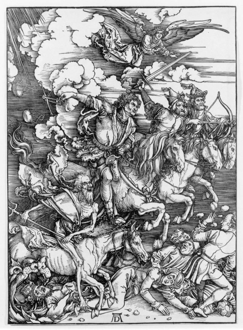 Albrecht Dürer, The Four Horsemen, from The Apocalypse, woodcut, 1498. From metmuseum.org.