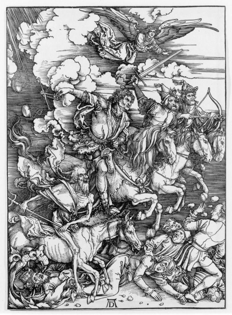 Albrecht Dürer, The Four Horsemen, from The Apocalypse, woodcut, 1498. From metmuseum.org.