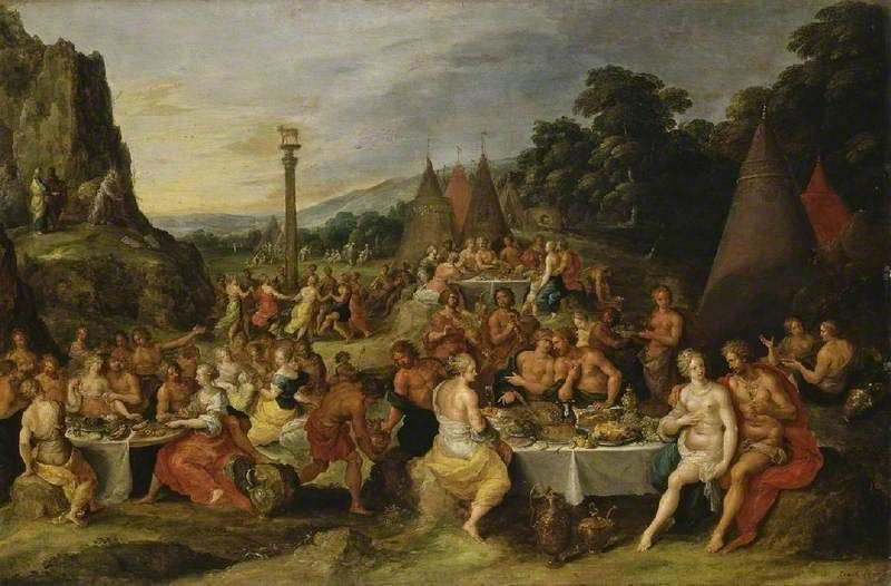 Frans Francken the Younger (1581–1642), The worship of the golden calf, Antwerp, Belgium, c.1630–35. Oil on panel. 56.8 x 86.3 cm. Given by Augustus Arthur Vansittart, 1864 (262). Image courtesy artuk.org.