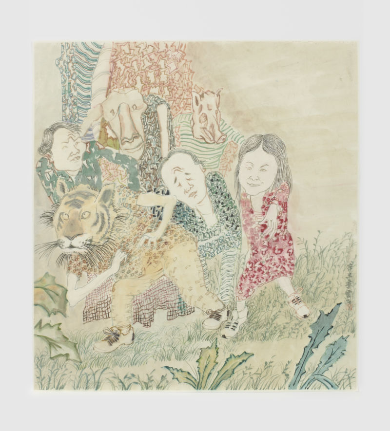 Yun-Fei Ji. The nativists and immigrants, 2021 Ink and watercolor on paper, 30 x 27 1/2 in. © Yun-Fei Ji 2021. Image courtesy the artist and James Cohan, New York. Photo by Phoebe d'Heurle.