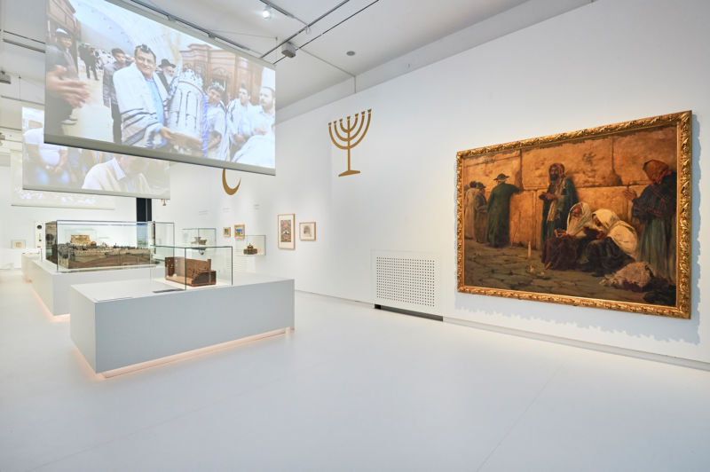 "From ""Welcome to Jerusalem,"" December 11, 2017- April 30, 2019. View of the central exhibition room ""the holy city.""  Image courtesy of Jewish Museum Berlin. Photograph by Yves Sucksdorff."