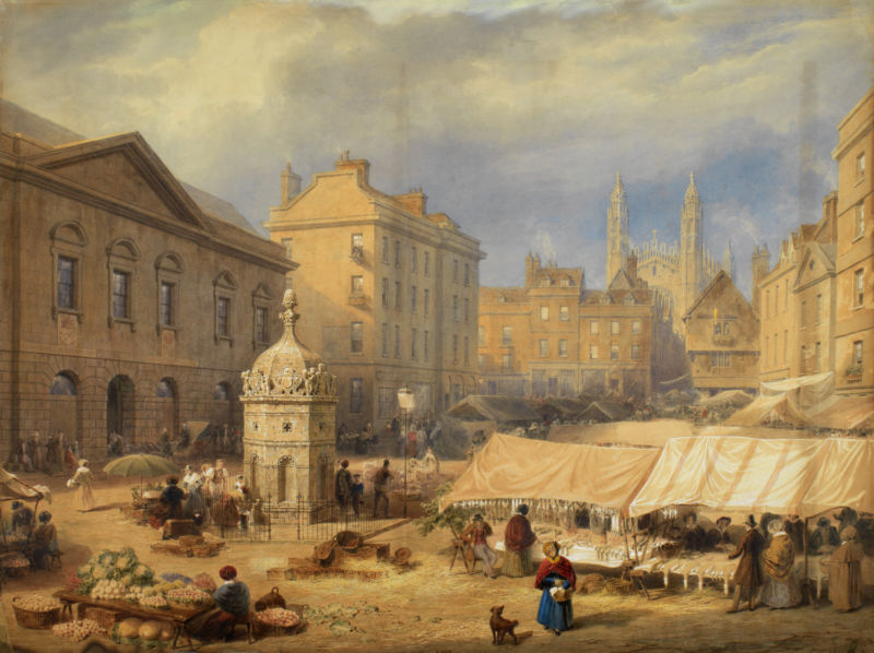 Frederick MacKenzie (1787–1854), Cambridge Market Place, London, England, 1841. Watercolor, graphite pencil, bodycolour and white, gum applications and scratching out, on paper. 75.8 x 101 cm. Purchased with the Fairhaven Fund (PD.13-1971). Image courtesy of The Fitzwilliam Museum.