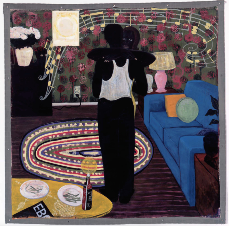 "Kerry James Marshall, Slow Dance, 1992-93, mixed media and acrylic on canvas. On view in ""Take Care"" at the University of Chicago's Smart Museum of Art."
