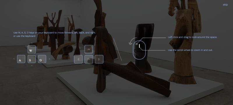 Screenshot, virtual exhibition navigation instructions