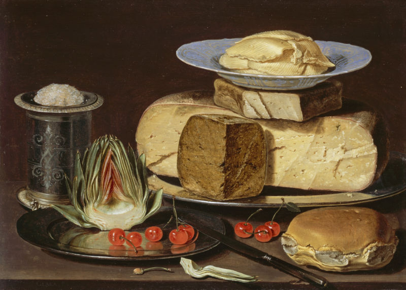 Clara Peeters, Still Life with Cheeses, Artichoke, and Cherries, ca. 1625. Los Angeles County Museum of Art