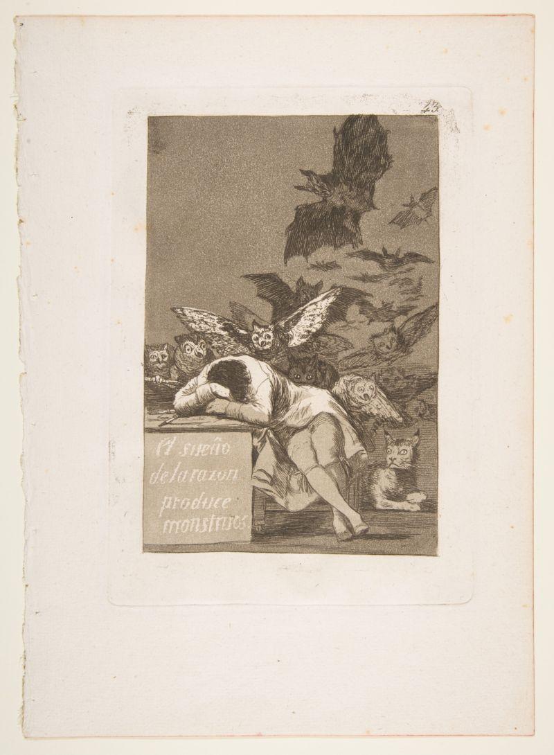 Francisco de Goya y Lucientes, Plate 43 from 'Los Caprichos': The sleep of reason produces monsters (El sueño de la razon produce monstruos), 1799,  Etching, aquatint. Collection of the Metropolitan Museum of Art, Gift of M. Knoedler & Co., 1918.