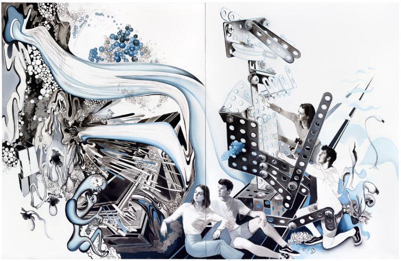 ROBOTA II, 2019, 250 x 390 cm, mixed media on canvas, two-parts