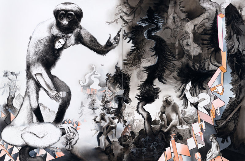Susanne Kühn, BEASTVILLE, 2019, 250 x 380 cm, two parts, mixed media on canvas. Photograph by Bernhard Strauss.
