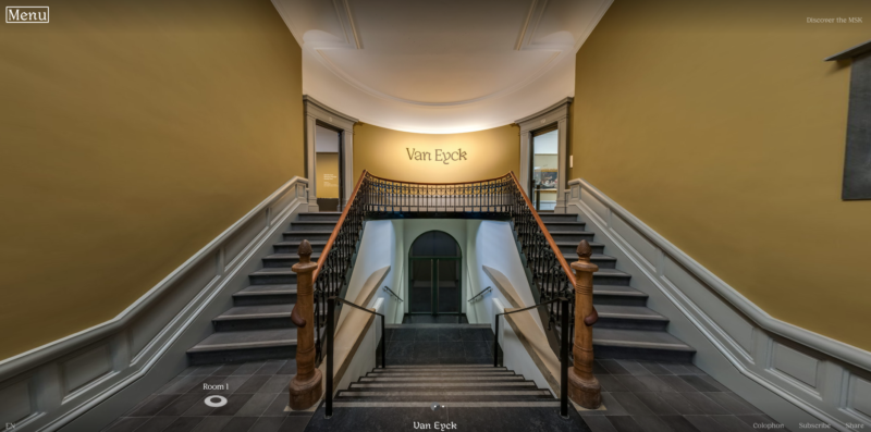 Screenshot from the virtual tour of Van Eyck: An Optical Revolution hosted by the Museum of Fine Arts Ghent.
