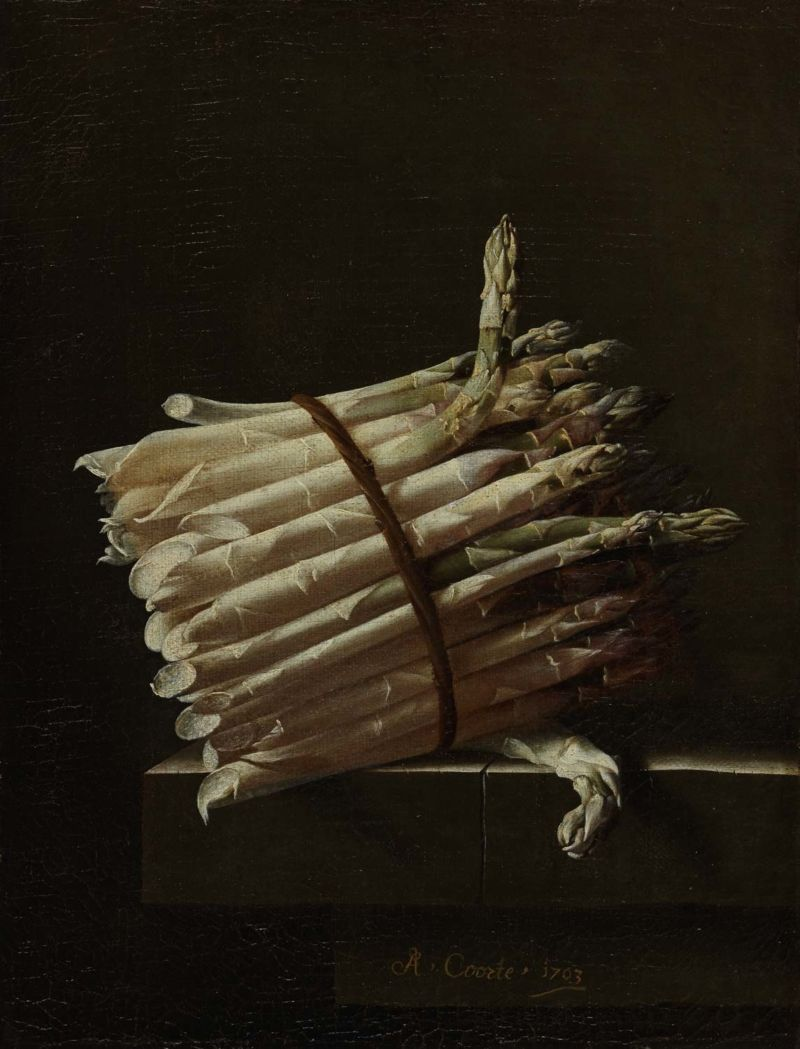 Adriaen Coorte (1659/64 –1707), A bundle of asparagus. Middelburg, Netherlands, 1703. Oil on canvas. 30 x 23 cm. Given by Frank Brangwyn, 1943 (2575). Image courtesy of The Fitzwilliam Museum.