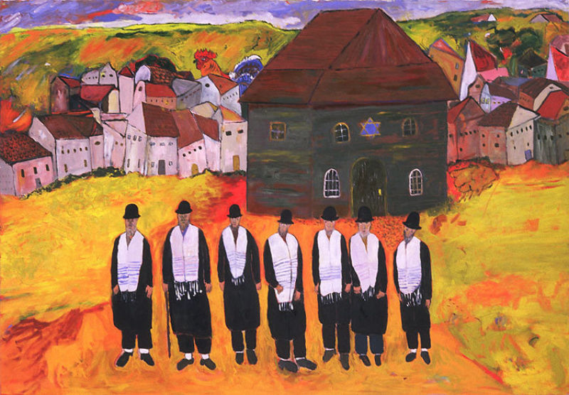 Bette Alexander, Waiting for a Minyan #1, oil paint on paper, 2005