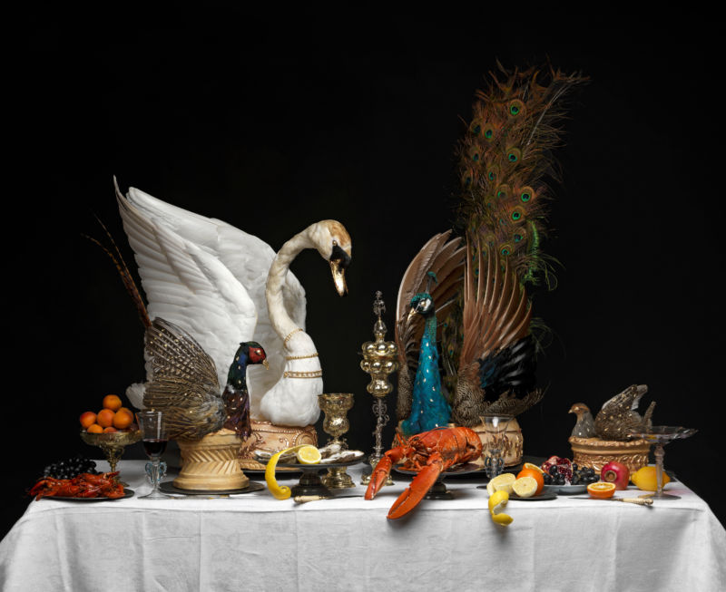 A recreation of a Baroque feasting table with bird pies, c. 1650, conceived and made by Ivan Day for the Feast & Fast exhibition, with taxidermy by David Astley and models by Tony Barton. Image courtesy of The Fitzwilliam Museum.