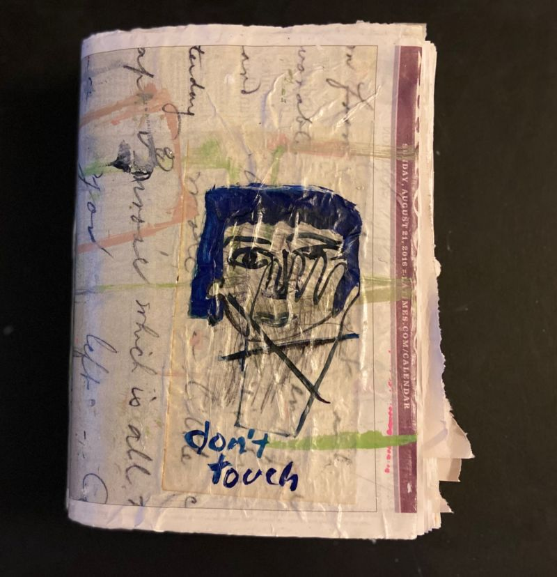 Julia Schwartz, covid diary 2020, artist book, collaged newspaper and gouache, 11 x 8.5 inches (cover: don't touch)