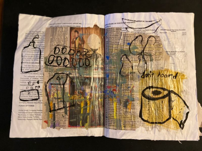 covid diary, 2020, artist book, collaged newspaper and gouache, 11 x 17 inches (don't hoard)