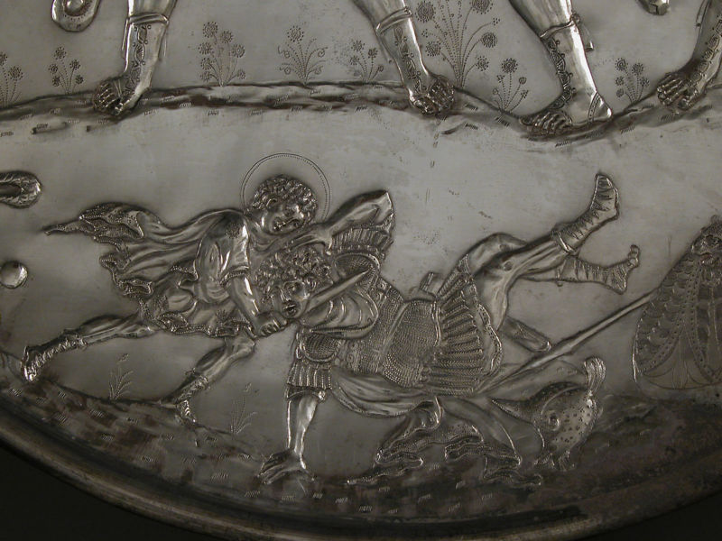 Detail from Plate with the Battle of David and Goliath, silver, 629–30, Metropolitan Museum of Art.