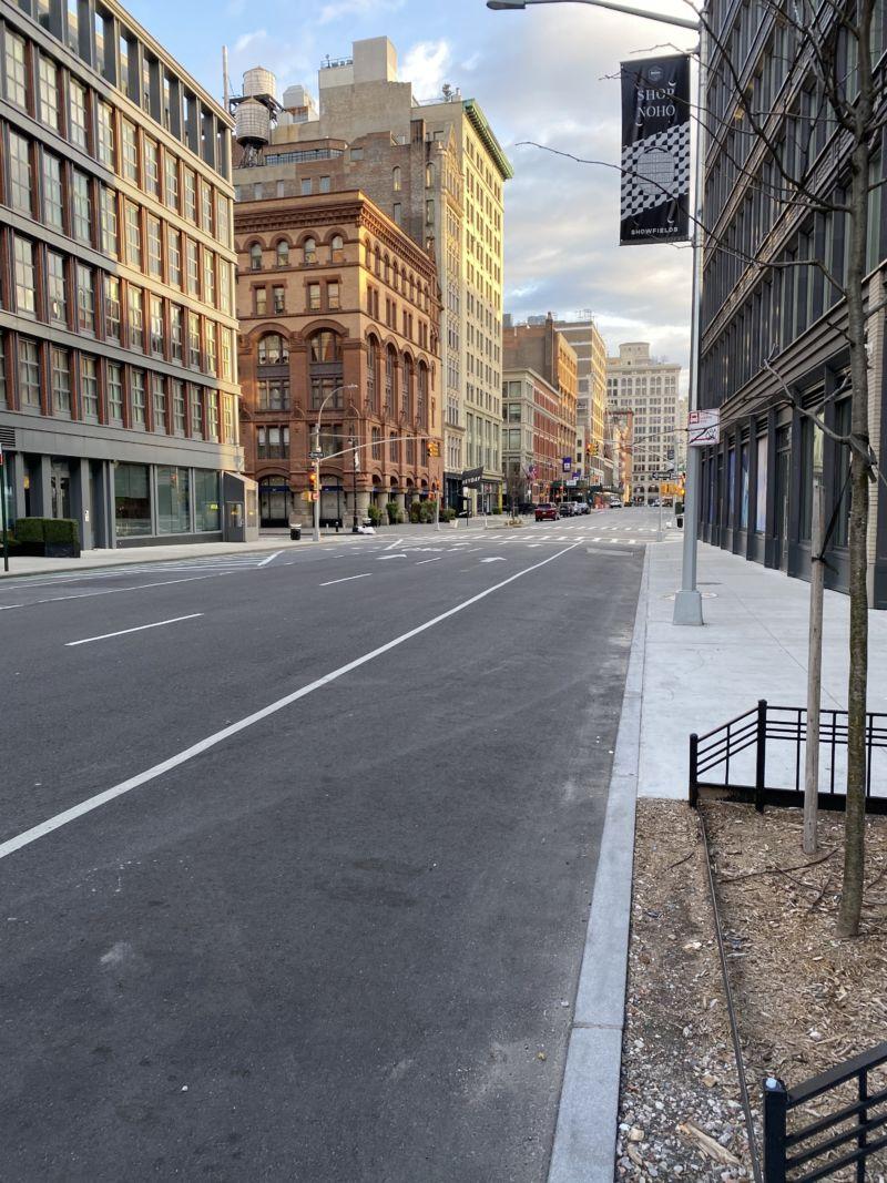 An empty street in NoHo. Photograph by Luigi Cazzaniga.