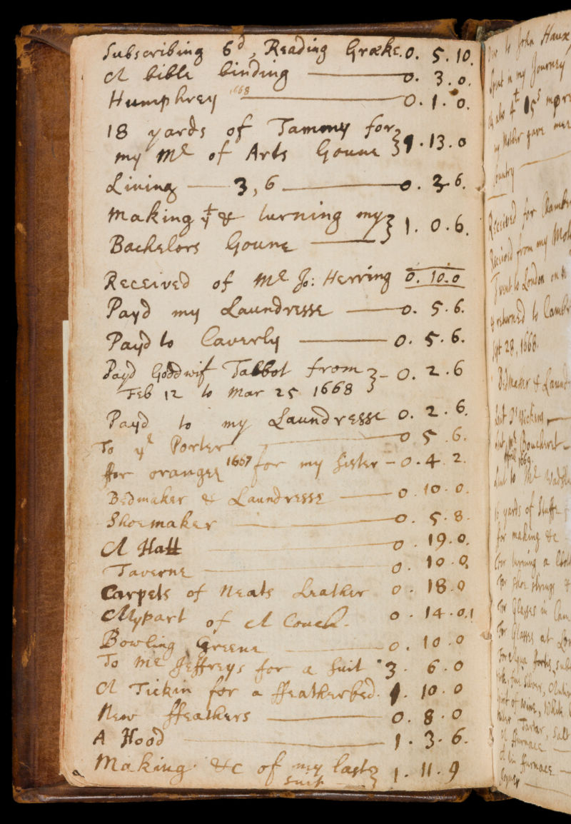 A page from Isaac Newton's notebook (Fitzwilliam Newton Notebook) recording various miscellaneous purchases, 1667-68 (MS 1-1936). Image courtesy of The Fitzwilliam Museum.