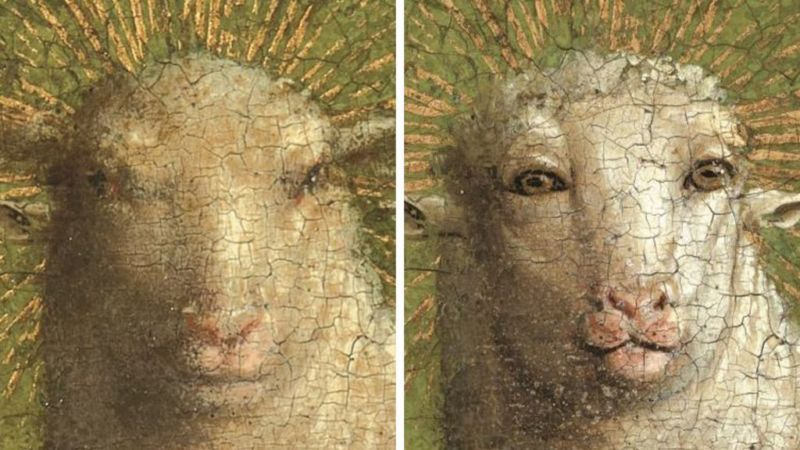 Detail from The Adoration of the Mystic Lamb before (left) and after restoration.