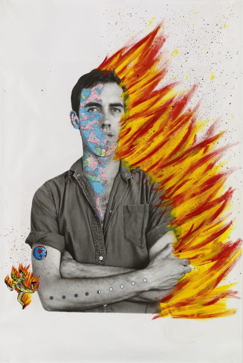 David Wojnarowicz with Tom Warren, Self-Portrait of David Wojnarowicz, acrylic and collaged paper on gelatin silver print, 1983–84. From whitney.org.