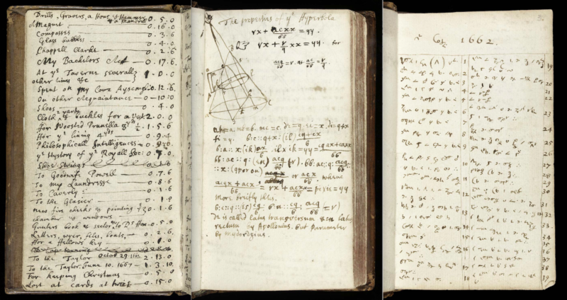 Three pages from Isaac Newton's notebook (Fitzwilliam Newton Notebook) recording (left) various miscellaneous personal expenses, (center) mathematical calculations, and (right) sins written in short-hand code only deciphered in 1963 (MS 1-1936). Images courtesy of The Fitzwilliam Museum.