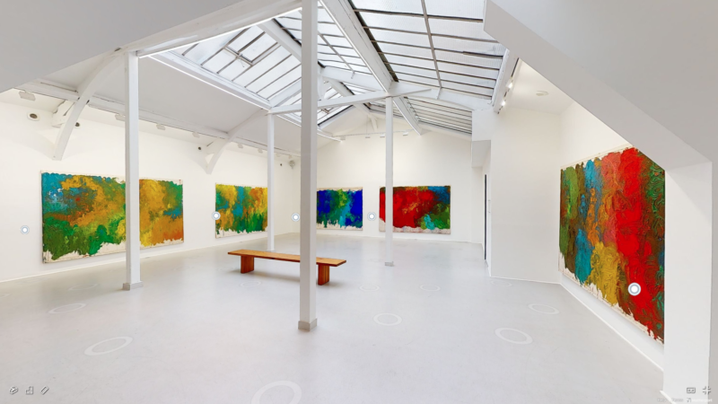 """Screenshot, virtual exhibition, """"Hermann Nitsch: The Shape of Color"""" at Galerie RX, Paris."""